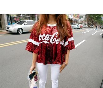 top red coca cola glitter blouse