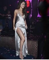 dress,silk,metallic,silk dress,selena gomez,silver,silver dress,slit dress,fur