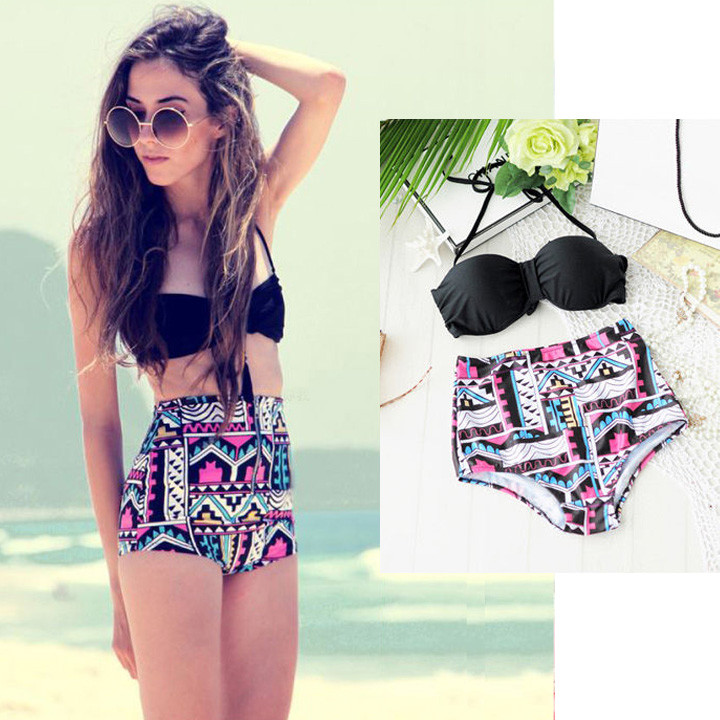 Retro Geometric High-Waisted Bikini