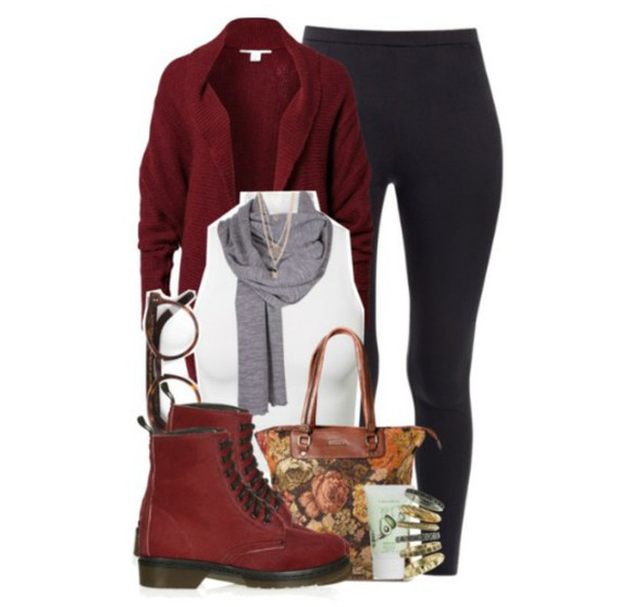 combat boots cardigan burgundy grey scarf white shirt