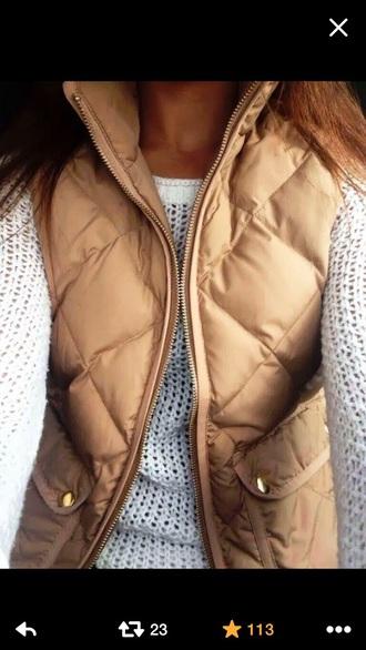 jacket puffy vest tan gold mango white sweater