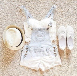 jumpsuit hat jeans outfit overalls shirt shoes top white white shoes