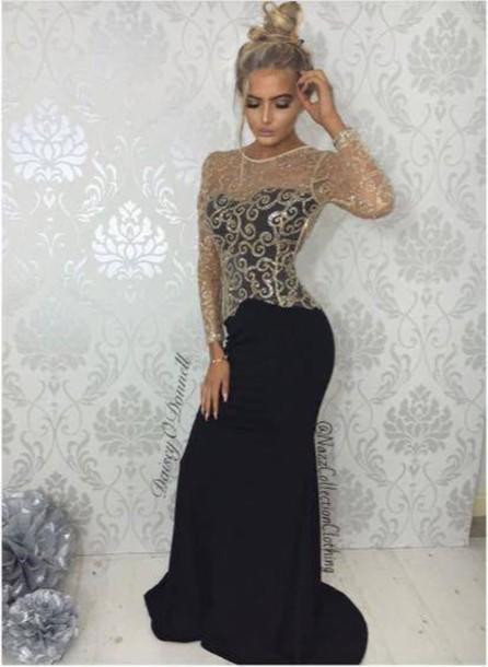 Dress: black dress, black maxi dress, maxi dress, maxi, fishtail ...