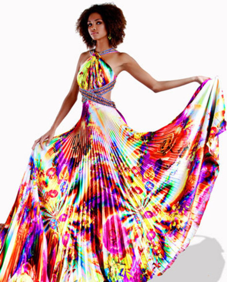 dress cut-out maxi psychedelic