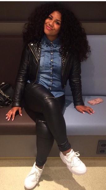Jacket leather jacket leather pants denim shirt huarache all black everything - Wheretoget