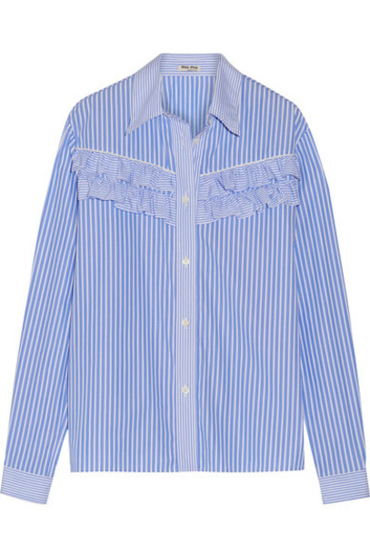 shirt ruffle light cotton blue light blue top
