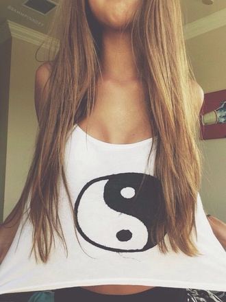 shirt tank top yin yang top t-shirt white top graphic top icifashion ici fashion yin yang shirt yin yang tshirt yin yang white summer white tank top blouse top black and white tank top tshirt design withe clothes white shirt ying yang shirt ying yang symbol