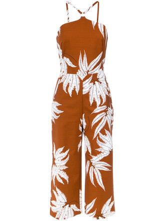 jumpsuit women spandex cotton print brown