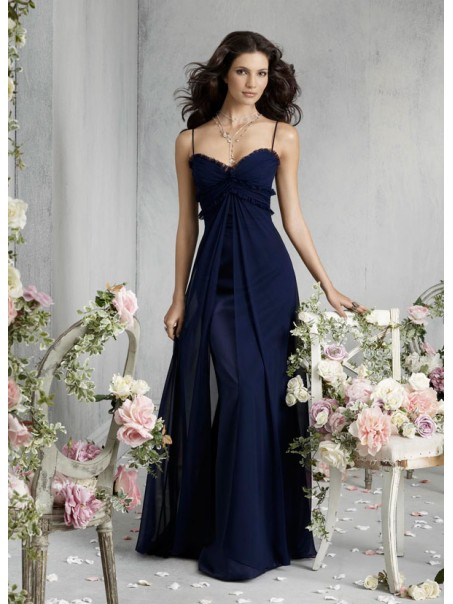 A-line Spaghetti Straps Sweetheart Navy Blue Long Chiffon Bridesmaid /Prom/Formal/ Wedding Party Maternity Dresses Cheap 2301116