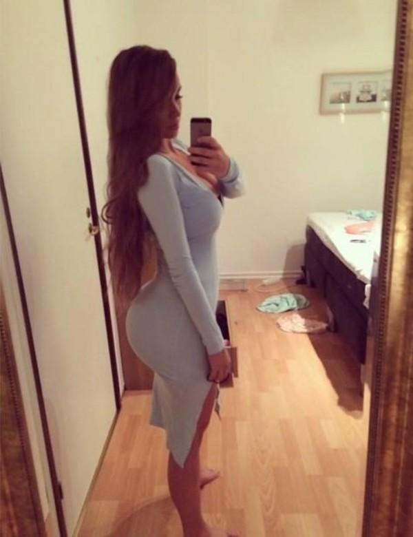 model dress long sleeve dress twitter selfie bodycon dress booty slit ines helene