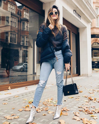 top black jacket silver boots tumblr see through see through top jacket denim jeans blue jeans ripped jeans bag black bag boots ankle boots