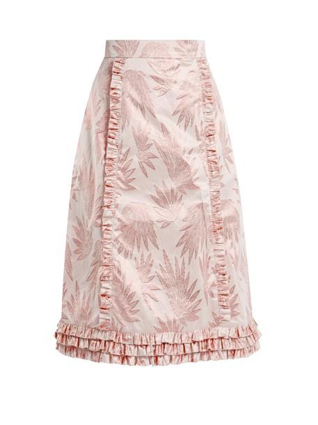 THE VAMPIRE'S WIFE skirt ruffle jacquard print pink