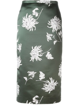 skirt pencil skirt floral print green