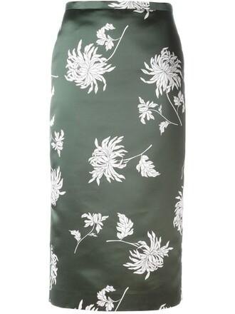 skirt pencil skirt floral print green