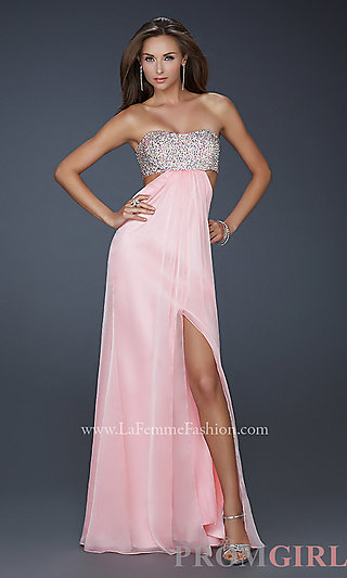 Strapless Beaded Evening Gown, Strapless Dress for Prom- PromGirl