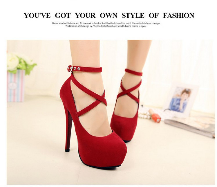 2014 New Arrived High Heels Women Pumps Female Ankle Strap Platform Party Shoes Thin heels Wedding Shoes Sex Red Pumps -in Pumps from Shoes on Aliexpress.com