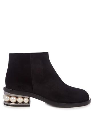 pearl boots ankle boots velvet ankle boots velvet black shoes