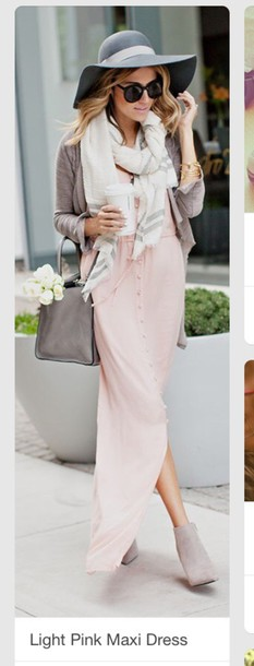 dress powder pink pink dress maxi dress button up dress pink spring fall outfits 2015 2016 scarf white cream grey chunky floral booties nude suede maxi skirt maxi button cardigan casual outfit baby pink ankle boots floppy hat starbucks coffee sunglasses button up skirt fashion hat