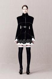 coat,black and white,pattern,monochromatic,detail,knee socks.      b. v