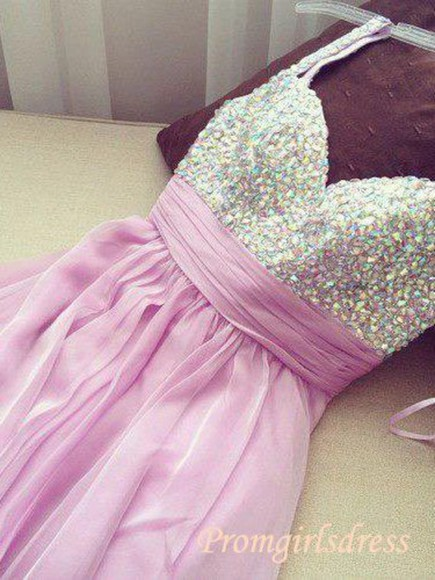 dress homecoming dress chiffon dress beads dress straps dress lavender girls