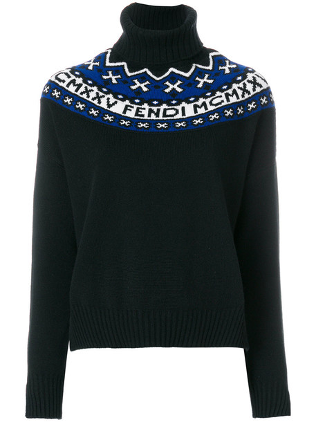 Fendi sweater embroidered women black wool