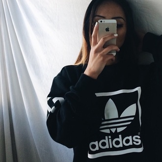sweater adidas sweater black adidas sweatshirt nike all black everything blvck sportswear black and white jacket shirt iphone white logo pullover black top black sweater