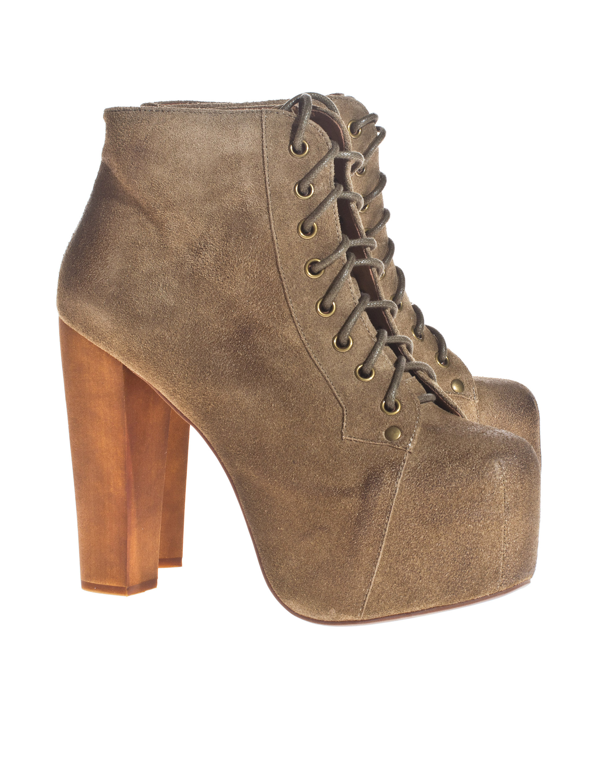 Jeffrey campbell  lita taupe suede wood wildleder plateau