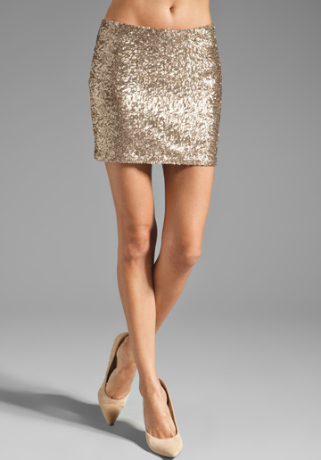 COUTURE BY MISS ME Allover Sequin Mini Skirt in Gold - Sale