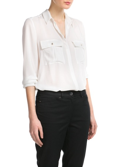 MANGO - CLOTHING - Tops - Two-pocket blouse