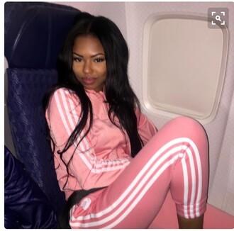 jumpsuit adidas pink women pants jacket tracksuit pajamas white sweatpants adidas tracksuit adidas originals adidas superstars light pink girl peach pink jacket adidas jacket pink adidas jacket & pants
