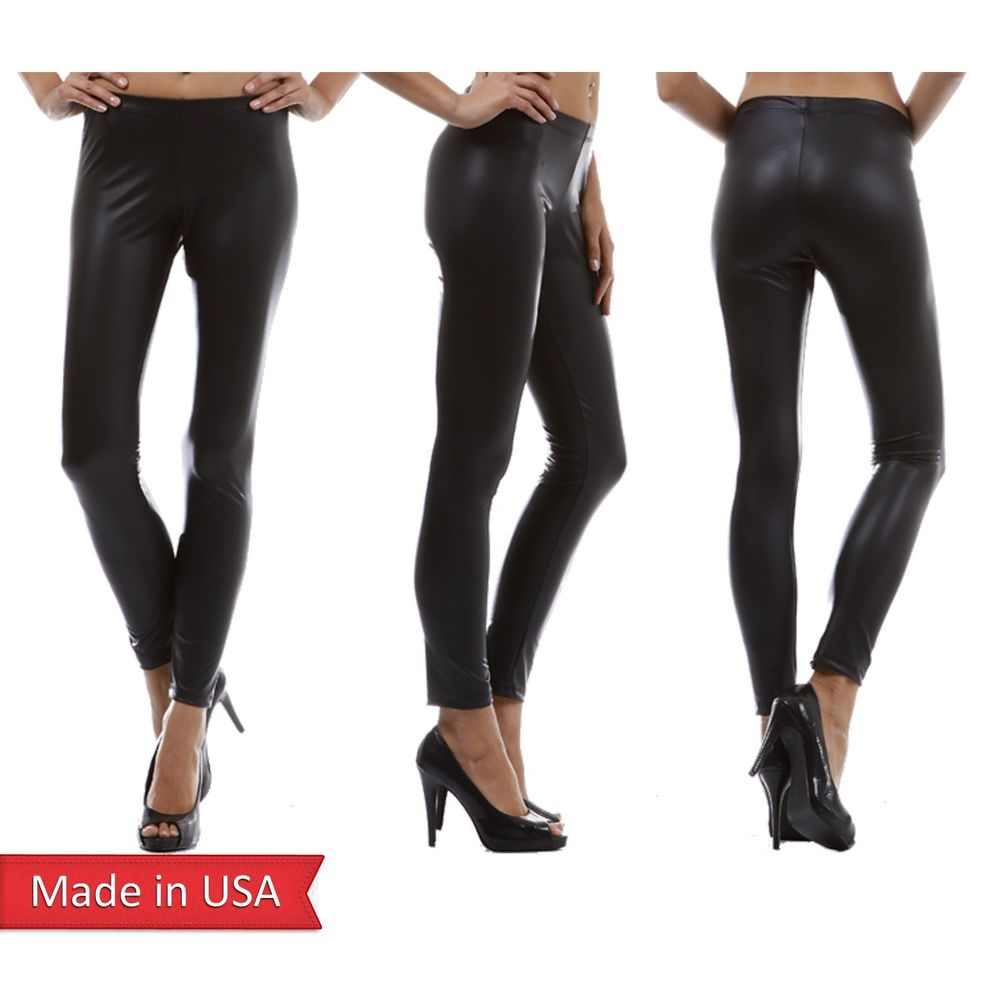 Sexy Matte Black Faux Leather Full Length Leggings Tights Pants Regular Plus USA