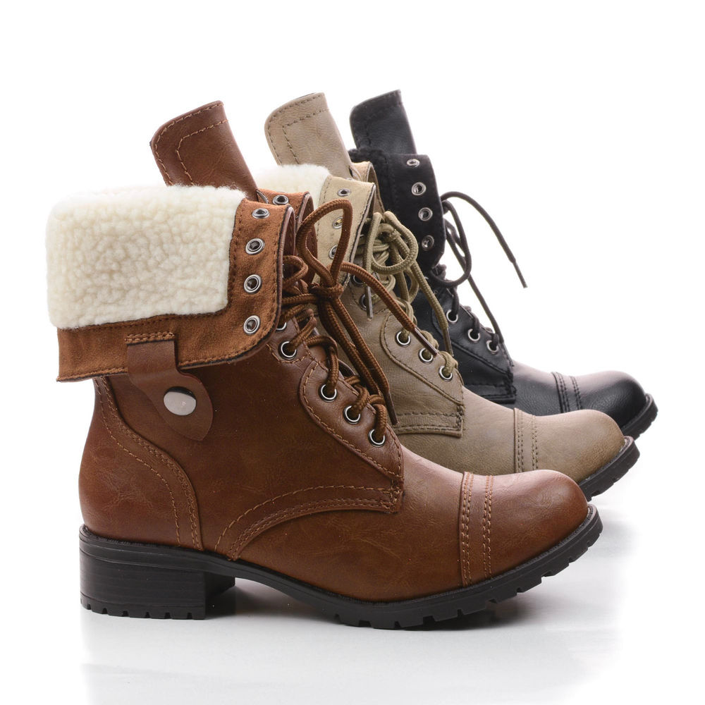 Lace Up Fold Over Military Combat Boots