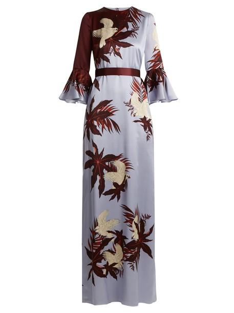 Erdem gown print silk satin burgundy dress