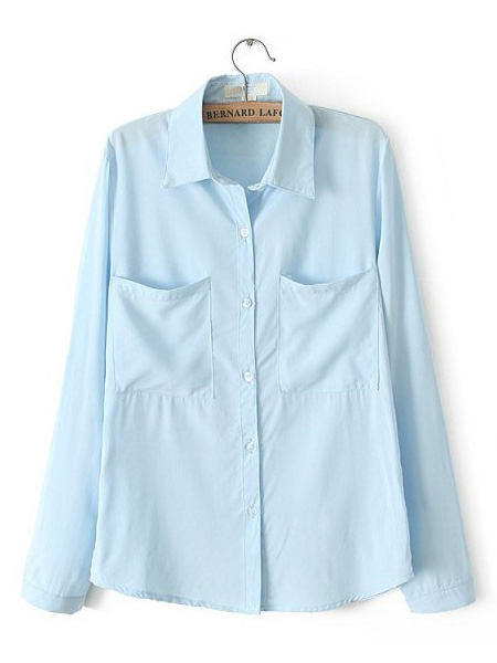 Blue long sleeve basic style lapel blouse with two pockets