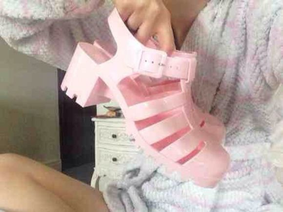 pink shoes pastel kawaii tumblr Pale pink platform shoes pastel goth