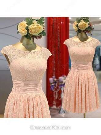 dress a-line scoop neck lace short mini flowers bridesmaid