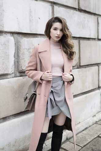 lolita mas blogger coat skirt shoes bag top nude coat nude sweater fall outfits shoulder bag gucci bag gucci thigh high boots boots black boots