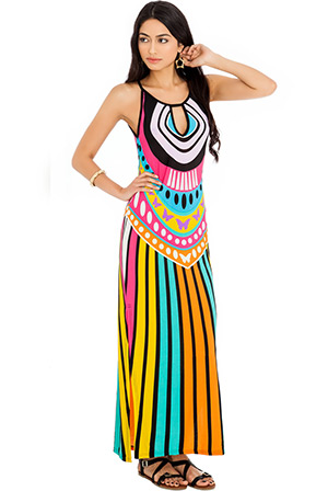 African Tribal Print Side Split Maxi Dress
