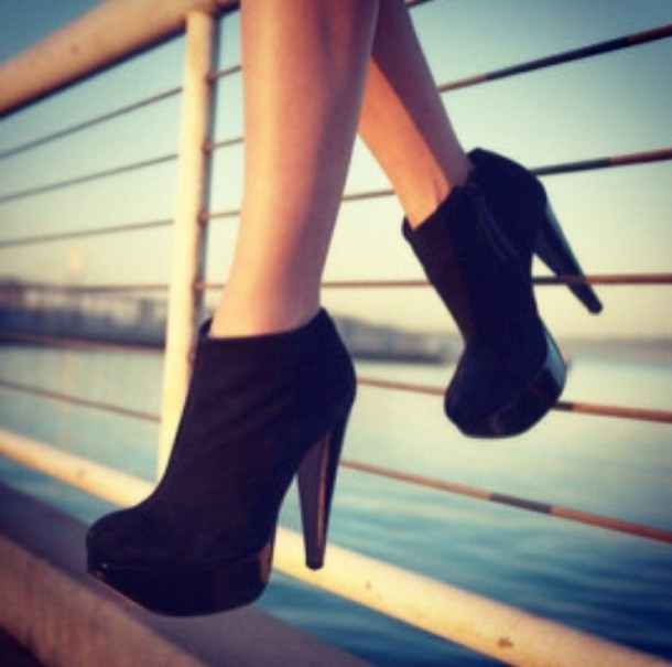 shoes ankle boots black heels