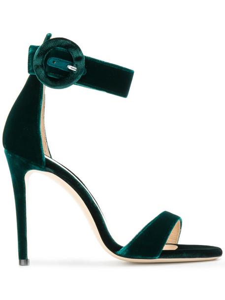 DEIMILLE ankle strap women sandals leather velvet green shoes