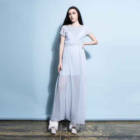 0b3591cbb4 Powder Blue Embellished Maxi Dress