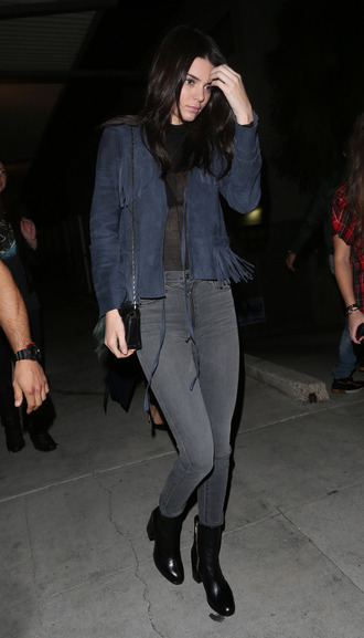 jacket fringes fringed jacket kendall jenner model off-duty jeans spring jacket top kardashians grey grey jeans