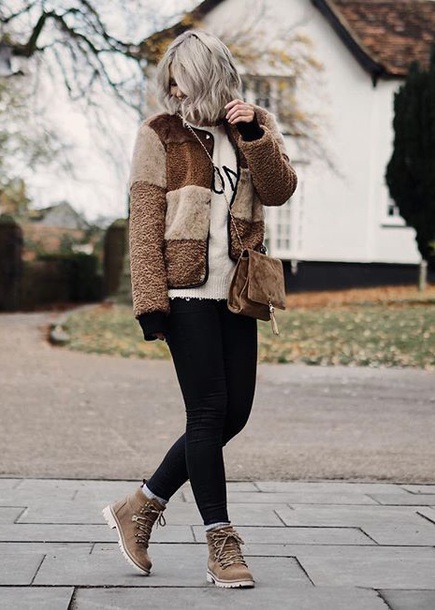shoes boots fuzzy jacket jacket sweater winter sweater denim jeans black jeans winter boots flat boots
