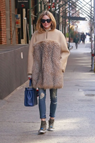 jeans olivia palermo blogger sneakers purse sunglasses bag fur coat pink coat blue bag ripped jeans streetwear max mara fall coat