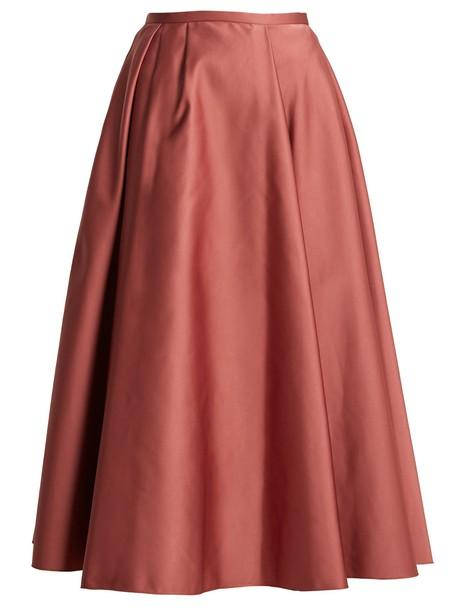 skirt midi skirt pleated midi satin pink