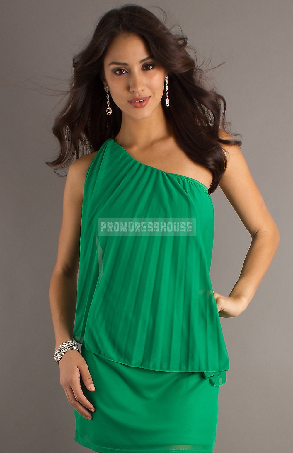 Column Draping Pleats Short Length Chiffon Green Prom Dress - Promdresshouse.com