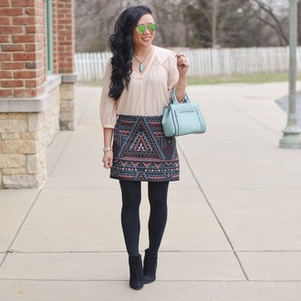 morepiecesofme blogger sunglasses jewels bag top skirt tights shoes mini skirt handbag blue bag ankle boots
