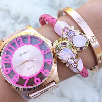 jewels pink bangle gold geneva watch rhinestones