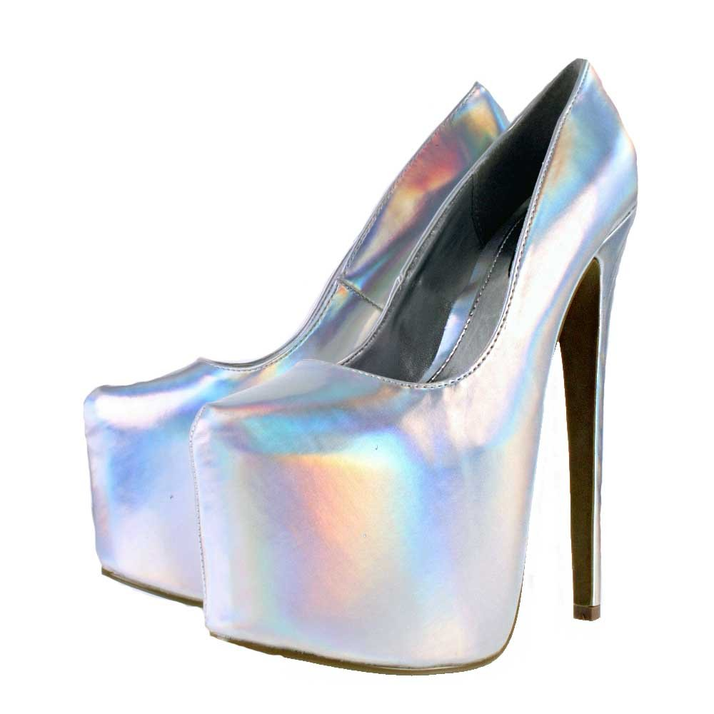 holographic stiletto heel platform shoes silver