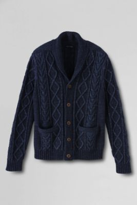 Men's Cable Shawl Collar Cardigan from Lands' End